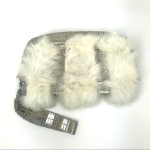 Armani Exchange Rabbit Fir and Metal Clutch